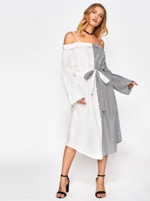 Open Shoulder Contrast Striped Curved Hem Dress