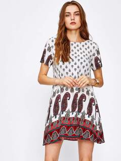 Paisley Print Short Sleeve Dress