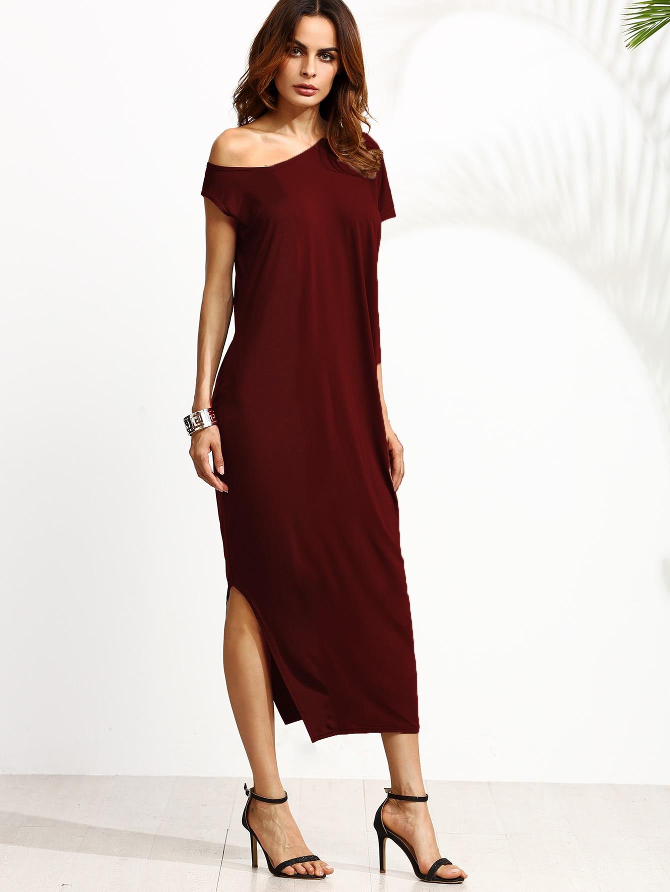 Oblique Shoulder Split Dress two tone oblique shoulder split dress