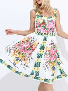 Strap Backless Flowers Print Dress