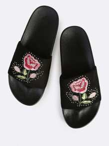 Floral Embroidered Slides BLACK