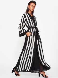 Self Belted Striped Abaya