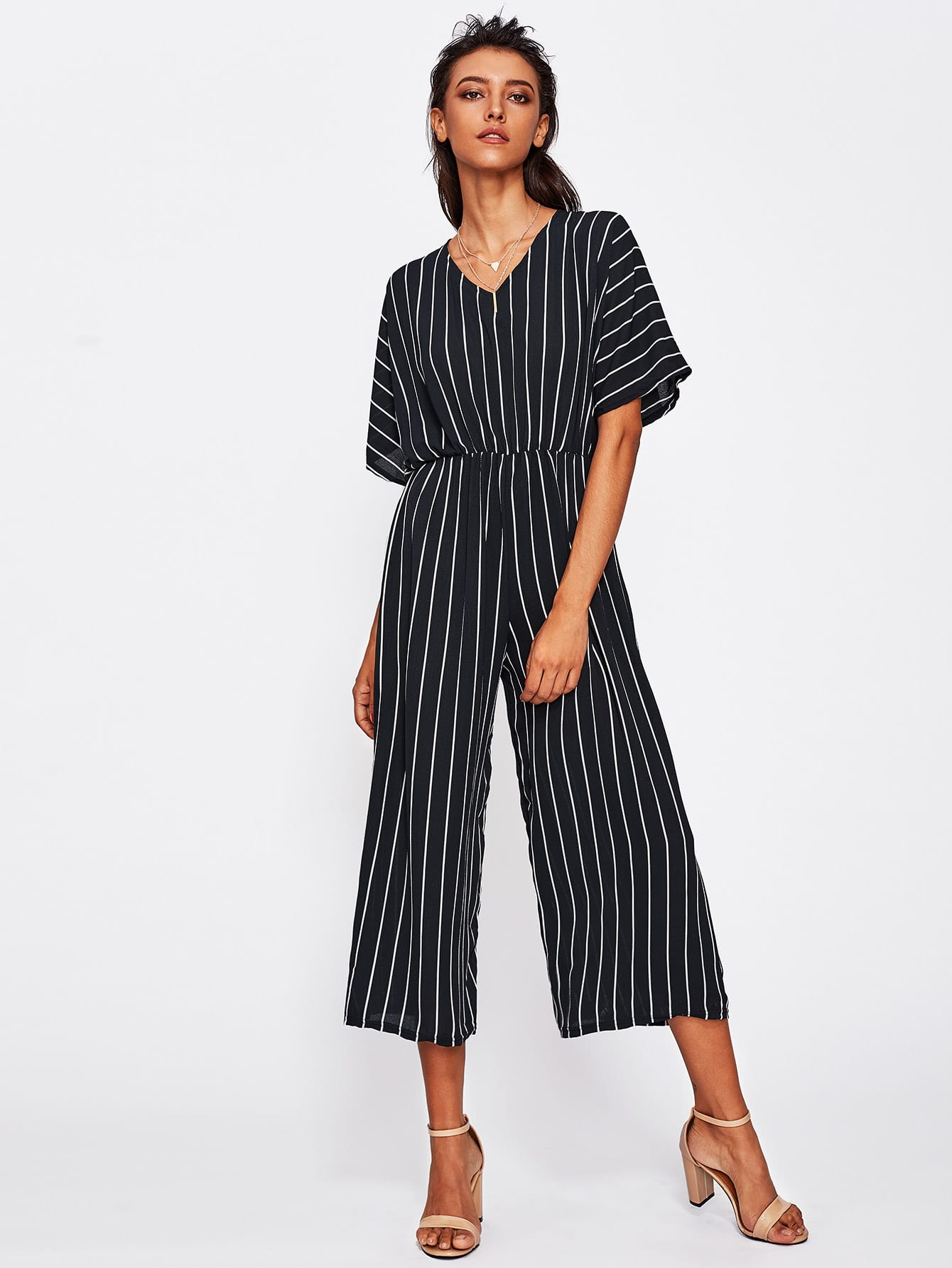 Overlap Tie Back Vertical Striped Wide Leg Jumpsuit shirred panel wide leg striped jumpsuit
