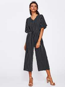 Overlap Tie Back Vertical Striped Wide Leg Jumpsuit