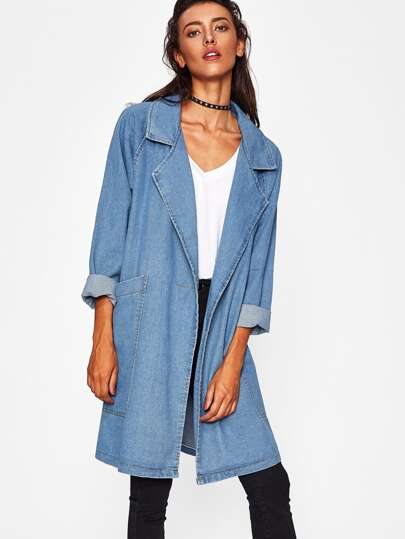 Front Patch Pockets Longline Denim Coat