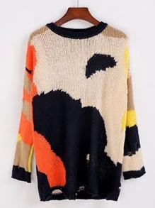 Sweater lacéré à motif graphique