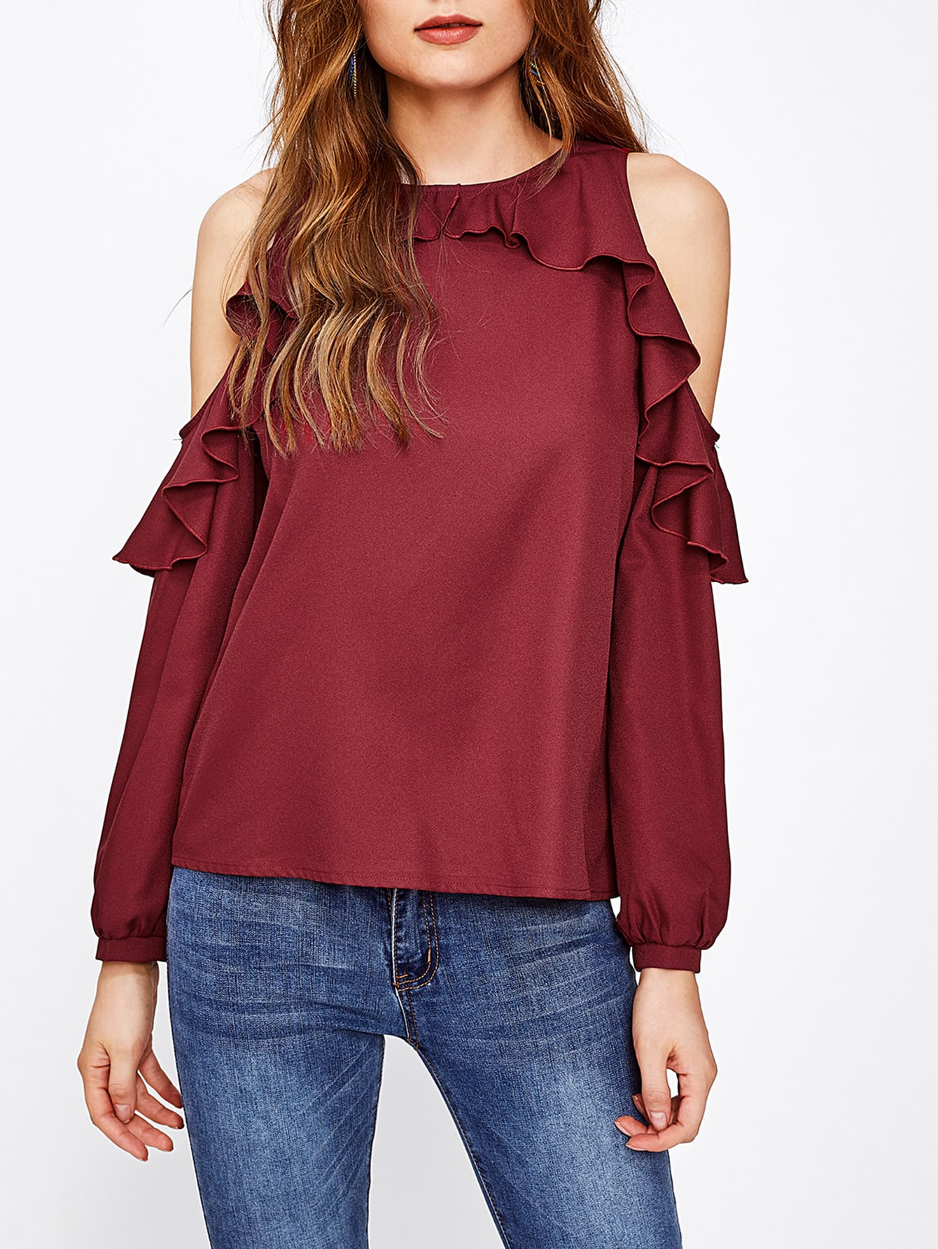 Frill Trim Cold Shoulder Blouse