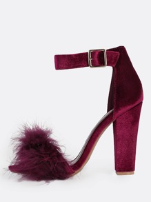 Fuzzy Band Ankle Strap Heel WINE