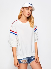 Striped Tape Detail Raglan Sleeve Pullover