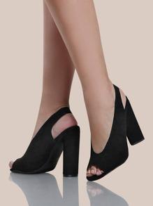 Peep Toe Slingback 3D Heels BLACK