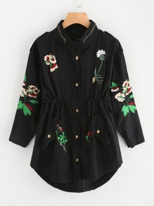 Botanical Embroidered Curved Drawstring Utility Jacket