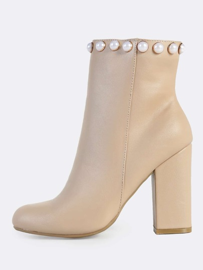 Pearl Accent Zip Up Booties NUDE