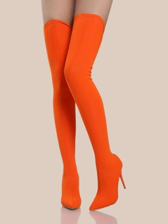Thigh High Stretch Knit Heels ORANGE