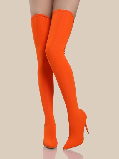 thigh high stretch knit heels orange shein sheinside