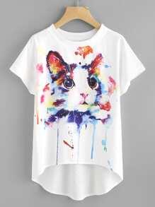 Watercolor Cat Print Batwing Sleeve Dip Hem Top