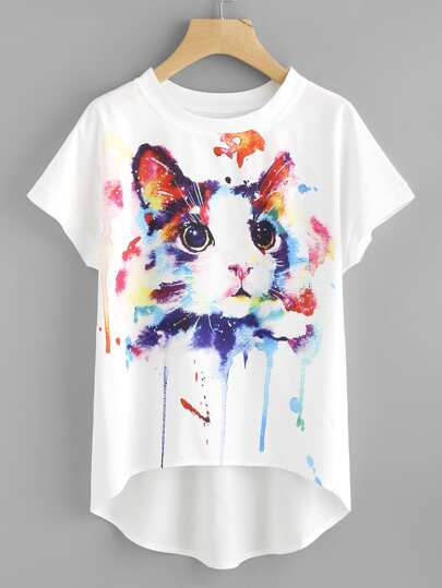 Watercolor Cat Print Batwing Sleeve Dip Hem Top