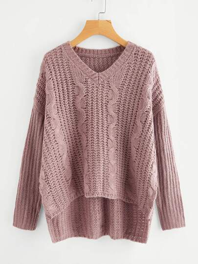 Stepped Hem Cable Knit Jumper