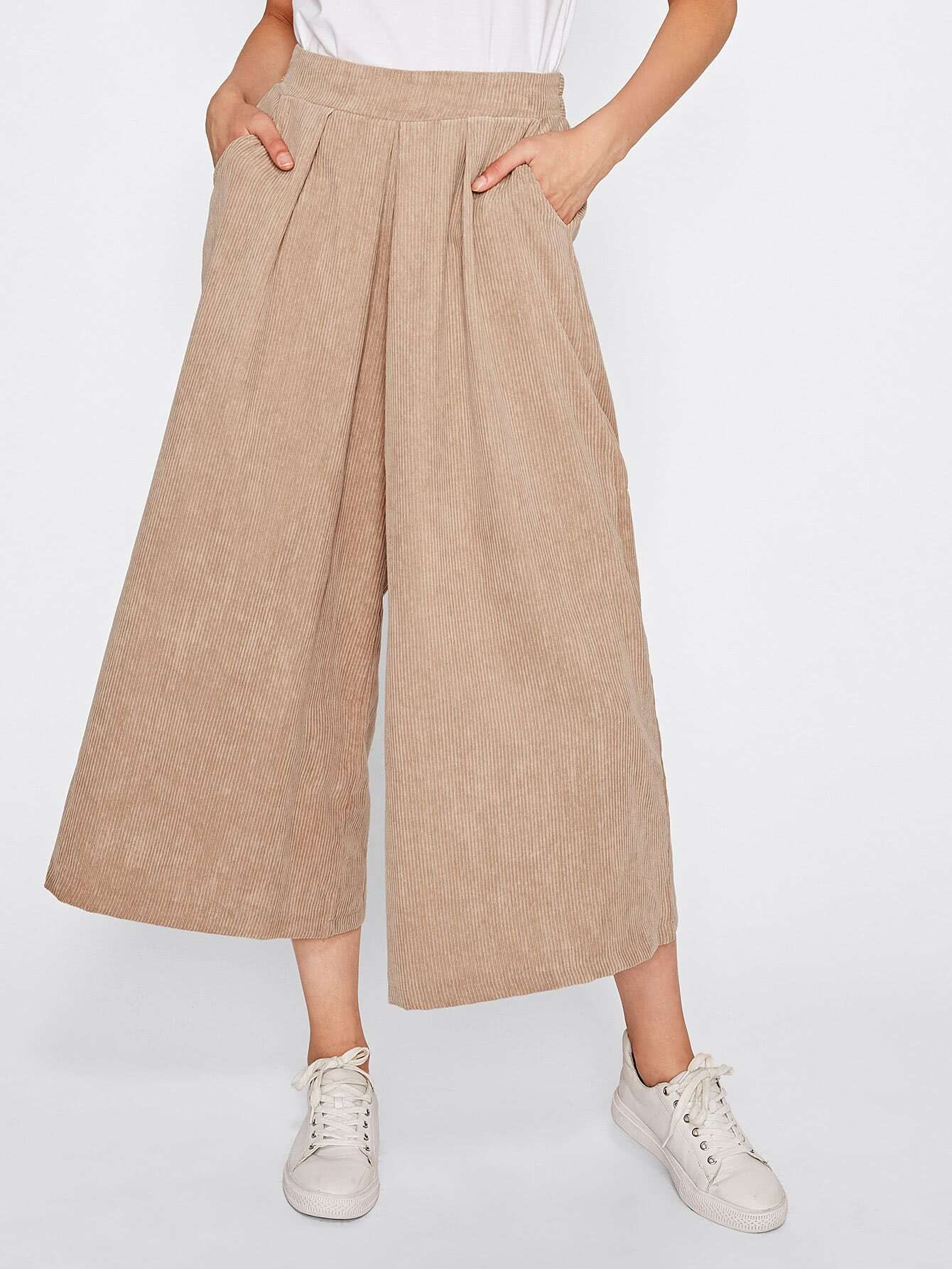 Ribbed Wide Leg Corduroy Pants pants170823030