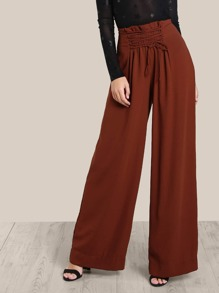 Lace Up High Rise Pants BRICK