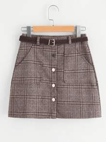Single Breasted Checked Skirt With Belt