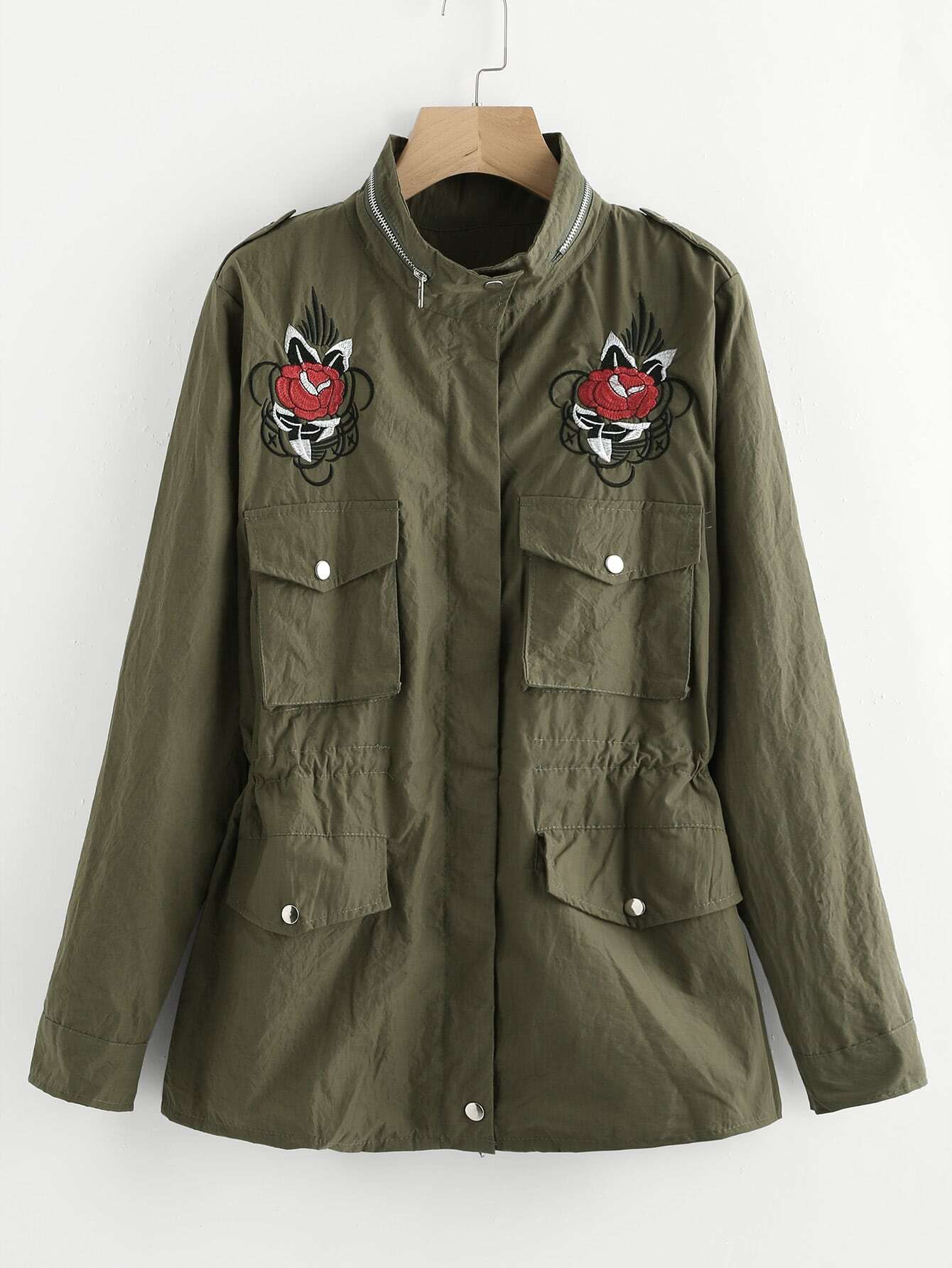Embroidered applique military jacket shein sheinside