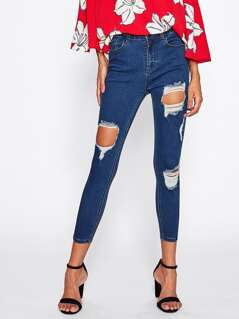 Cutout Cropped Skinny Jeans