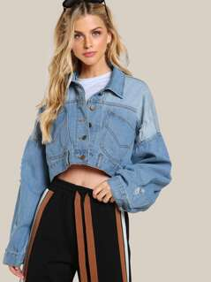 Drop Sleeve Distressed Crop Jacket DENIM