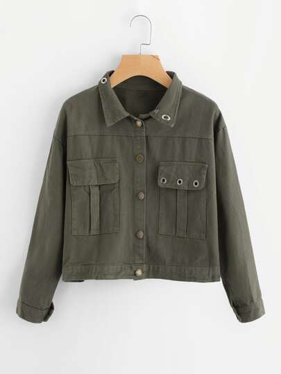 Single Breasted Ring Detail Jacket