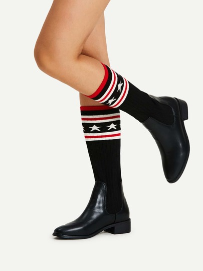 Striped Detail Block Heeled Sock Boots