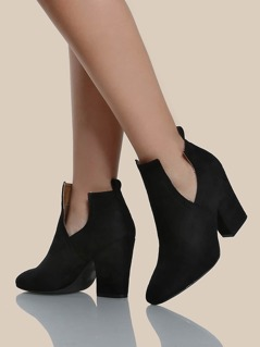 Cut Out Faux Suede Booties BLACK