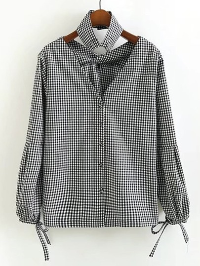 Bow Tie Cuff Gingham Blouse With Choker