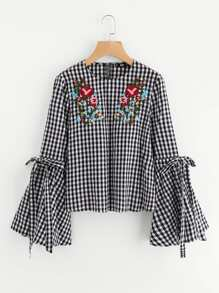 Belted Trumpet Sleeve Embroidered Gingham Blouse