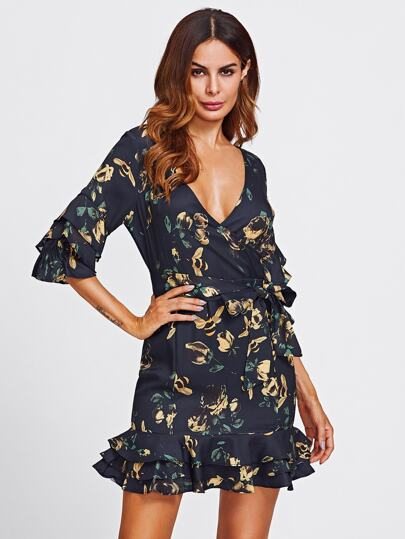 Layered Frill Detail Surplice Wrap Dress