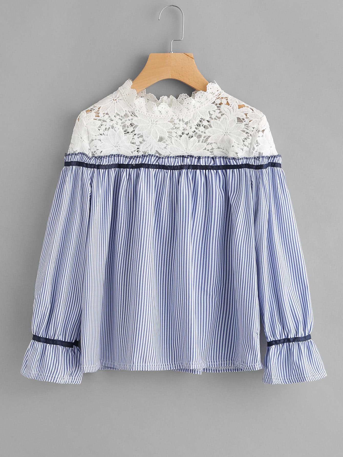 Contrast Crochet Lace Vertical Striped Blouse lace crochet contrast off shoulder stripe blouse