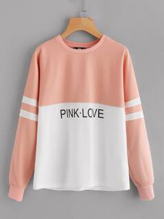 Two Tone Varsity Striped Sleeve Pullover