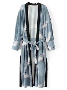 Contrast Binding Tie Waist Longline Kimono