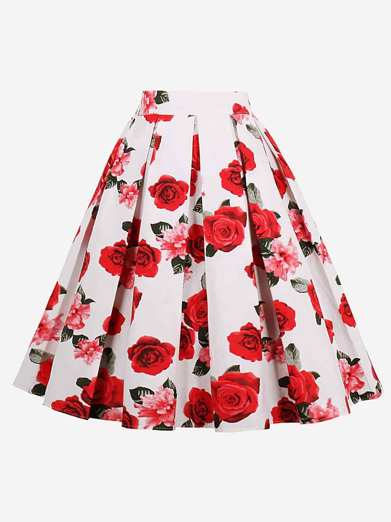 Image of All Over Rose Print Box Pleated Skirt