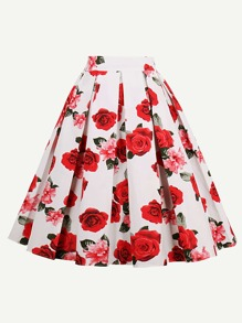 All Over Rose Print Box Pleated Skirt