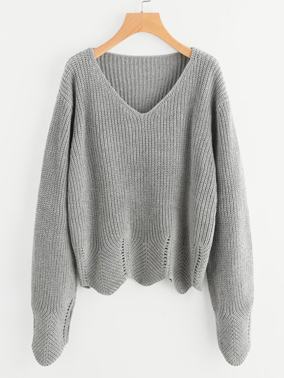 Eyelet Scallop Edge Jumper