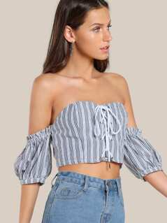 Lace Up Striped Crop Top BLACK