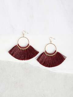 Hoop Tassel Earrings BURGUNDY