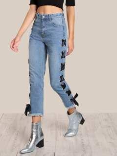 Side Lace Up Pants DENIM
