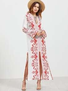 Plunging V Neck Pom Pom Trim Slit Dress