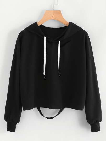 Cut Out Back Drawstring Hoodie