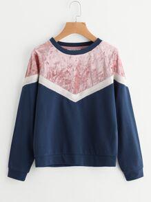 Mixed Media Cut And Sew Chevron Sweatshirt