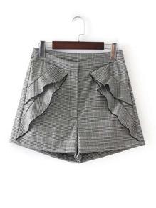 Flounce Detail Plaid Shorts