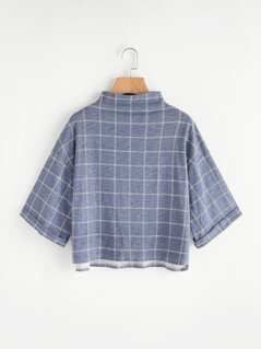 Funnel Neck Drop Shoulder Grid T-shirt