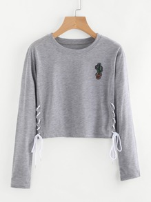 Eyelet Lace Up Side Cactus Patch Tee