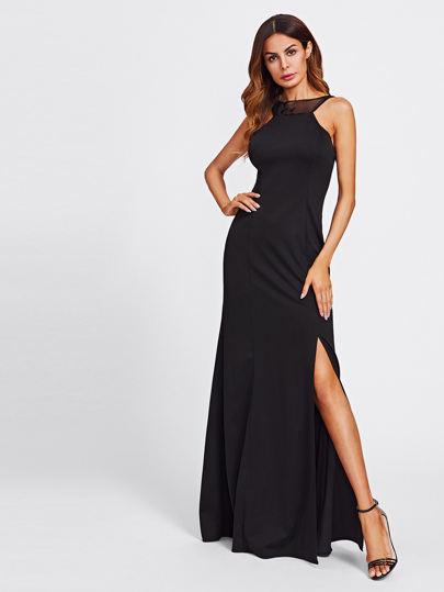 Sequin Mesh Paneled Open Back Split Dress