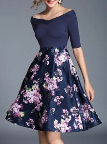 Boat Neck Flowers Print Combo Dress